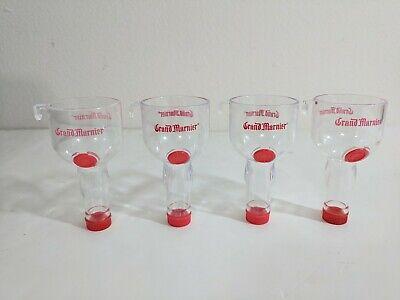 Grand Marnier cordial liquor mini bottle (4) plastic side car shot glasses - Plastic Cordial Glasses