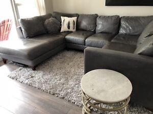 RARE Real American Leather Sectional in Grey.