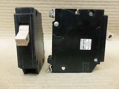 Lot Of 2 Cutler Hammer Ch120 1 Pole 20 Amp 120v Metal Half Notch Circuit Breaker
