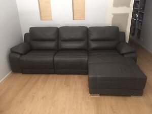 Barcelona 3 Seater leather Powered Recliner Lounge with Chaise Woodcroft Morphett Vale Area Preview