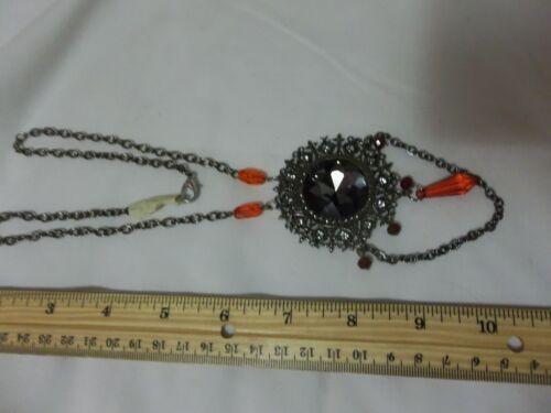 Creepy Vampire Halloween Medallion Rhinestones Gothic/Victorian Necklace Jewelry