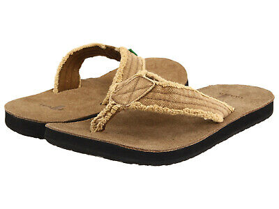 Men Sanuk Fraid Not Flip Flops Sandal SMS2117 Khaki 100% Authentic Brand New - Khaki Mens Sandals