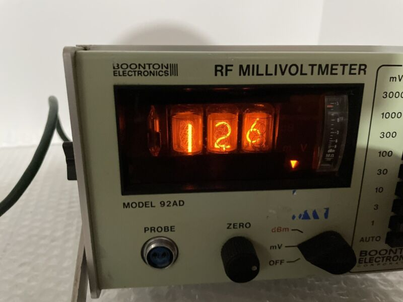 VINTAGE BOONTON 92AD 92AD-01-09 RF MILLIVOLTMETER SN: 231 TUBE NUMBER DISPLAY