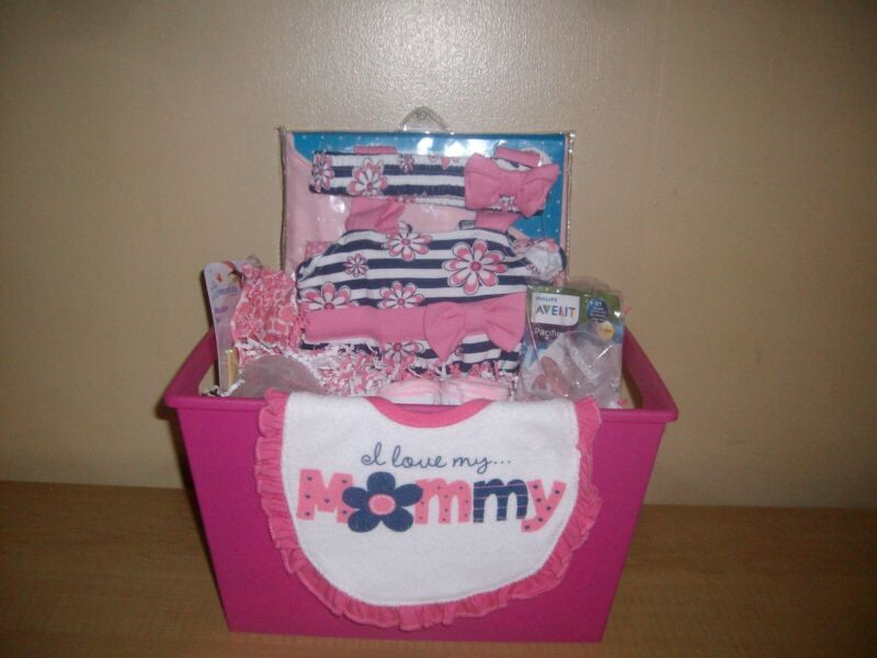 """Baby Girl """"I Love My Mommy"""" 19 piece Baby Shower Gift Basket or Centerpiece"""