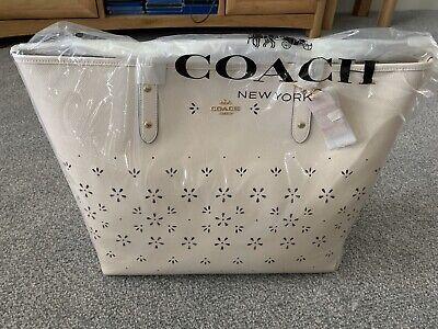 Coach Floral Pattern Cross grain White Tote Bag BNWT