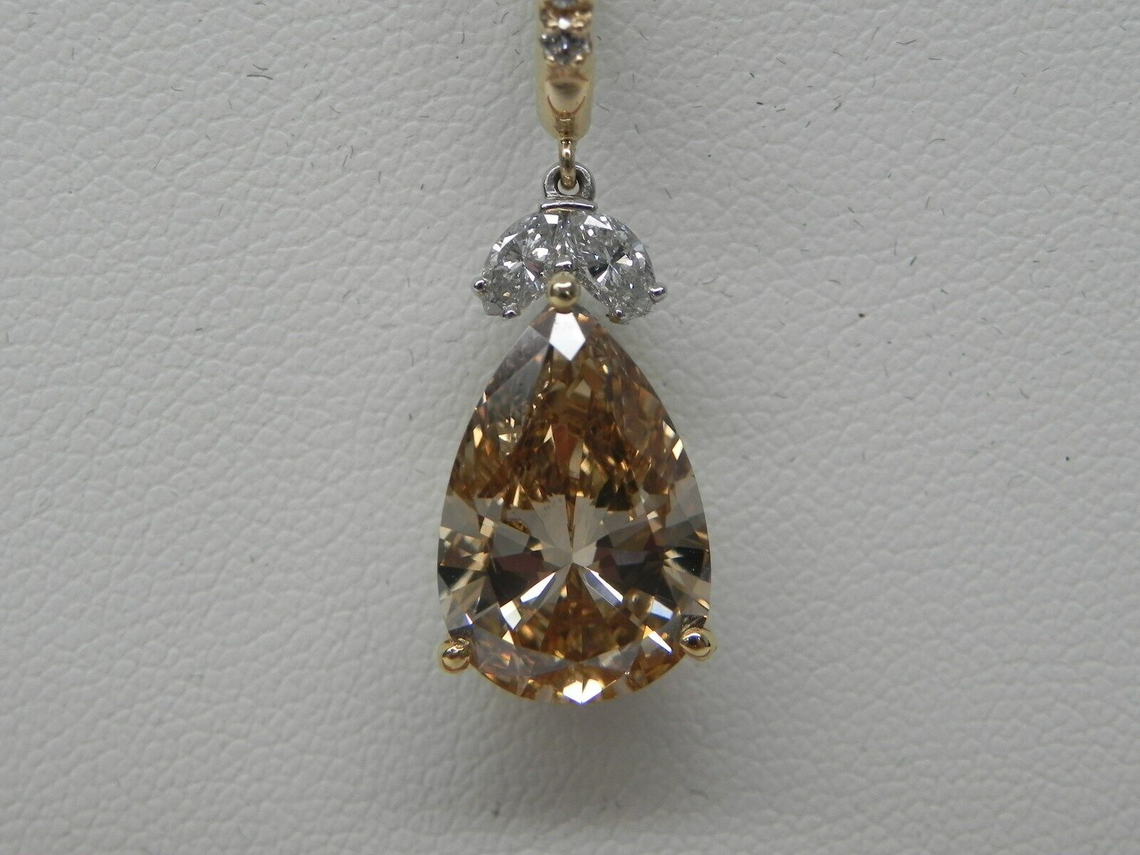 Diamond 5.01ct Pear Shape Natural Fancy Brown SI1 GIA Certified 14kt Pendant