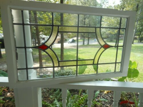 H-119 Transom Style Older Leaded Stained Glass Window F/England  3 Available