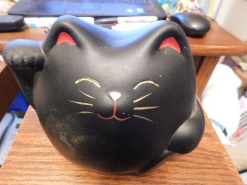 "Maneki Neko Lucky Happy Black & Gold  Cat 5 1/2"" Painted Ceramic Money Coin Bank"