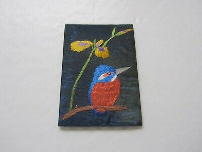 ACEO – Kingfisher and yellow flag – Original Hand Silk Embroidery, Alexandra Lob