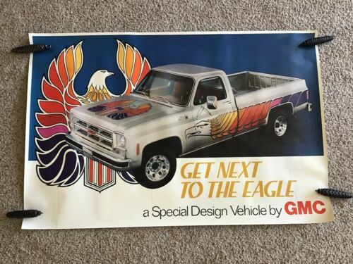 1970s  GMC  truck  original  factory poster   Eagle  design vehicle.