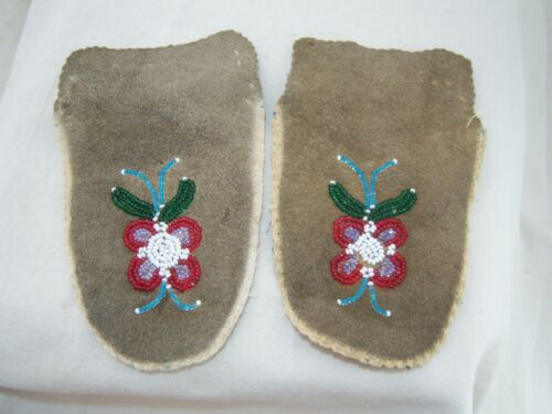 HAND BEADED MOCCASIN TOPS ASSINIBOINE RESERVATION Canada Cree Indian Floral