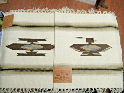 LOT OF 2 CHIMAYO SOUTHWEST 100% WOOL HAND WOVEN TABLE MATS PLACEMATS NEW