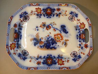 Sehr große Platte Tablett handbemalt Davenport England 44,6 cm x 34,5 cm um 1870