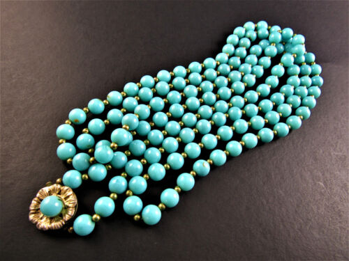 "VINTAGE SINGLE STRAND 56"" NECKLACE TURQUOISE COLOR PLASTIC BEADS (D7)"