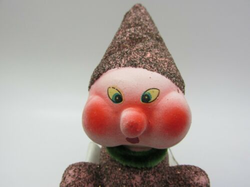 RARE Antique German Paper Mache Mica Glitter Christmas Gnome Elf Candy Container