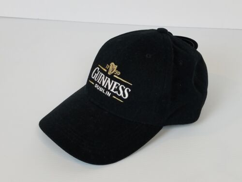 Guinness Beer Baseball Hat Cap Black Embroidered Logo Adjustable Sewn