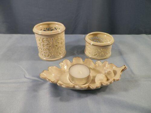 Lot of 3 Lenox Votive Candle Holders Oak Leaf & Pierced Designs