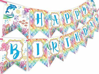 a Watercolor Happy Birthday Banner - Pool Party Pennant - (Pool-party Banner)