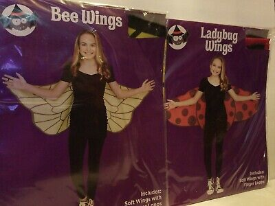 HALLOWEEN LADYBUG & BEE WINGS~SET OF 2~GREAT FOR PARTIES~EASY TO PUT