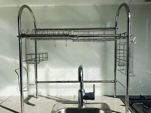 Over sink dish cutlery rack drainer