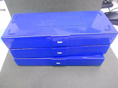 Lot Of 3 50 Microscope Slide Capacity Holding Boxes With Latch And Removable Lid
