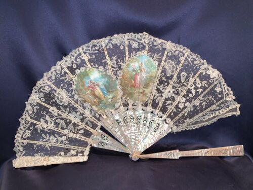 Antique Hand Made Duchesse Bobbin Lace Fan With Inserts of Lovers Carved Sticks