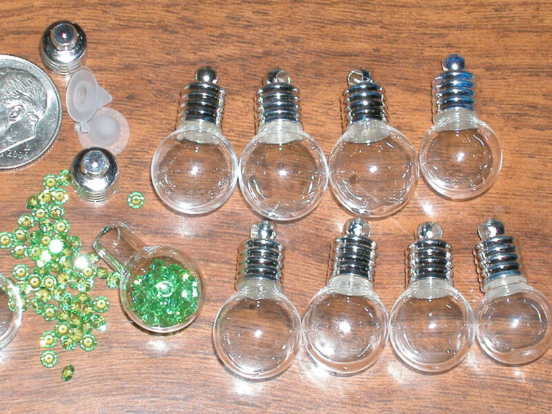 1pc. Round Glass bottle Pendant/Vials charm necklace*jewelry making crafting