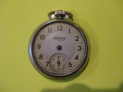 VINTAGE INGERSOLL BUCK POCKET WATCH FOR PARTS OR REPAIR RUNS AND STOPS NO HANDS