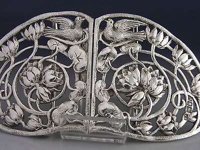 LARGE VICTORIAN STERLING SILVER BELT NURSES BUCKLE 1901 ART NOUVEAU ANTIQUE