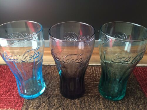 Vintage Coca-Cola Colored Glasses 3 - Promos for McDonalds 16 oz.