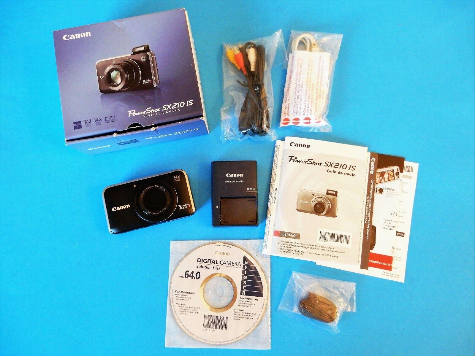 Photo Canon PowerShot SX210 IS 14MP Digital Camera Black Orig. Box, Access + Free Case