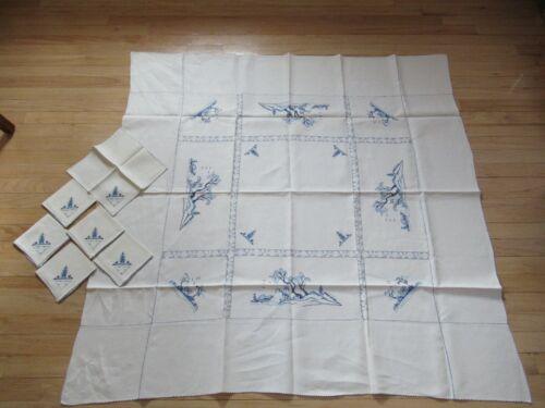 "Vtg Linen 50""x50"" Tablecloth w/ Blue Cross Stitch Japanese Image - 6 Napkins"