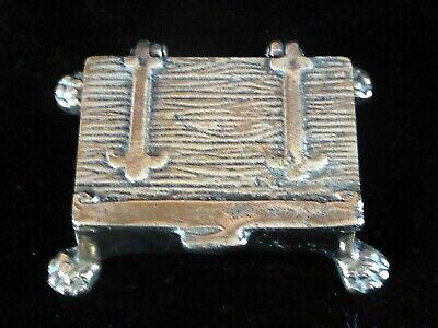 Miniature  Bronze Treasure Chest Stamp Or Trinket Box