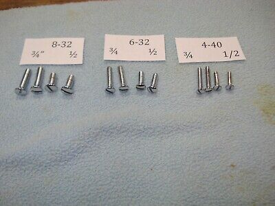 Chrome Plated Machine Screw Slotted Oval Head 4-40 6-32 8-32. 12 Piece Lot