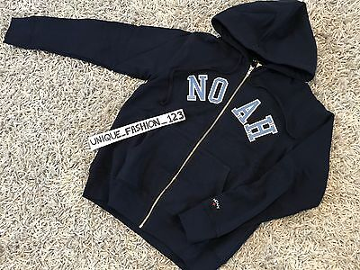 NOAH NYC SCRIPT ZIP UP HOODIE S NAVY BLUE HOODED SWEATSHIRT SMALL SS17 NY