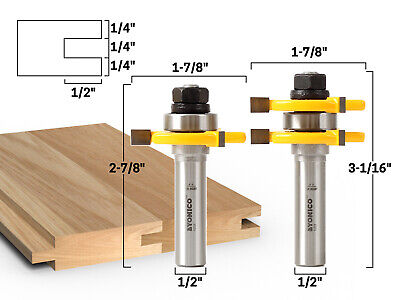 """Tongue and Groove Router Bit Set Up to 3/4 Inch Stock 1/2"""" Shank Yonico 15221"""
