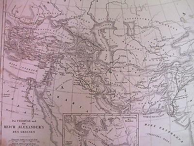 1850s ORIGINAL Map of Alexander the Great's Empire *In German* G Heck R Schmidt