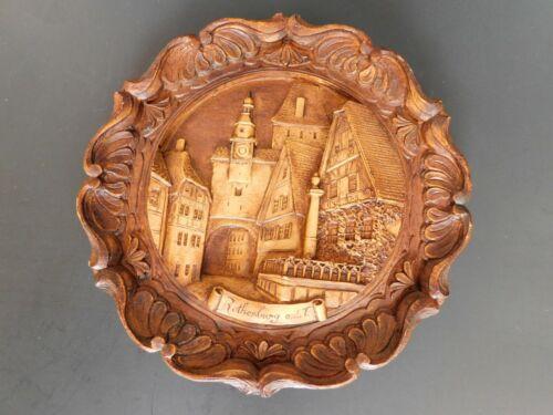 Vintage German Wooden Souvenir Plate Plaque Hand-Carved Wood Resin Rothenburg
