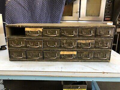 Vintage Steel 18 Drawer Tool Nut Bolt Storage Cabinet Bulk Hardware