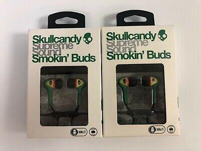 2 Pack of Skullcandy Smokin Buds Rasta Earbuds with Mic NEW