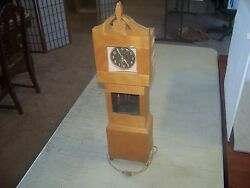 FOLK ART CLOCK HAND MADE WOOD WITH A VINTAGE WEST CLOCK IN IT GRANDFATHER STYLE