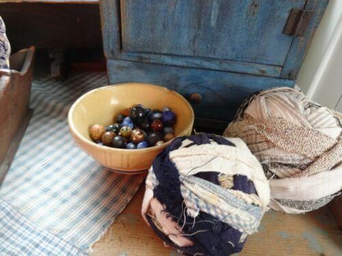 Early Primitive Homespun Calico Rag Balls set of 2 AAFA