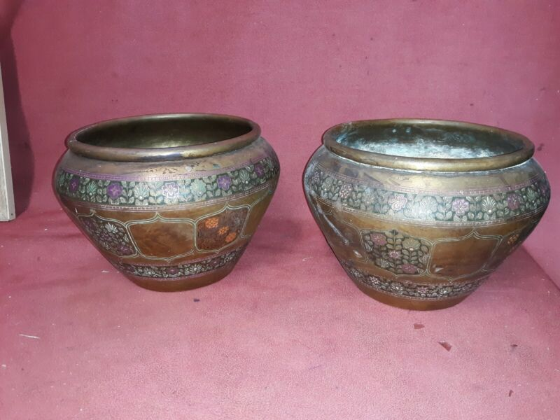 Pair Antique Asian Indian Engraved Brass Planters