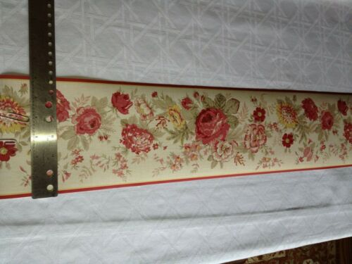 RED ROSES AND FLOWERS PREPASTED WALLPAPER BORDER # 579470