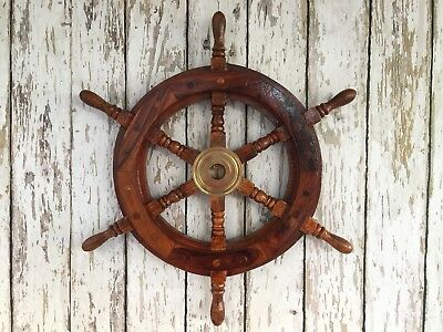 "18"" Wood / Brass Ship Wheel ~ Nautical Maritime Wall Decor ~ Pirate Captain"