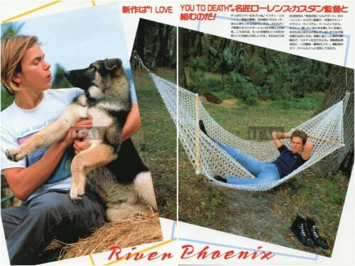 RIVER PHOENIX 1989 Japan Picture Clippings 2-SHEETS(3pgs) vj/r