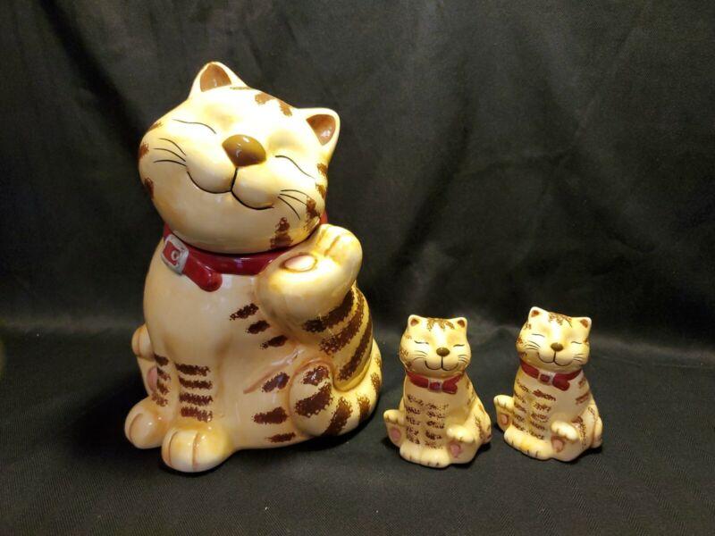 RARE-GKAO-TAN TABBY STRIPED SMILING CAT COOKIE/TREAT JAR W/SALT & PEPPER SHAKERS