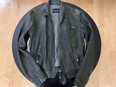 Vintage Emporio Armani Leather Jacket Size 50 M Medium Distressed 2011 Exchange