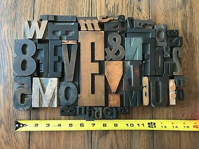 Letterpress Print Type Wood Letter And Number Group - 45 Pieces