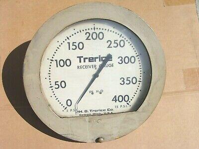 Huge Vintage 14 Inch H O Trerice Receiver Gauge 400 In H2o Steam Steampunk B